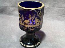 Antique Imperial Russian cobalt blue wine glass pokal gilt boar hunt 6� c1810