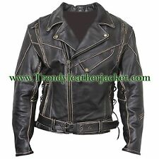 LIVE TO RIDE VINTAGE CLASSIC DISTRESSED BRANDO CRUISER BIKER LEATHER JACKET