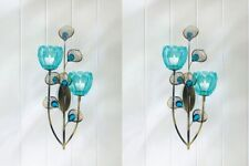 2 Turquoise Wall Sconce w/ Duo Flower Candle Cup on Golden Metal Peacock Plumes