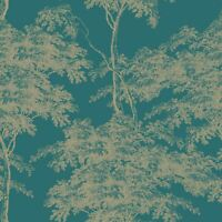 EDEN FOREST TREES WALLPAPER TEAL / GOLD RASCH 214321 - FEATURE WALL NEW