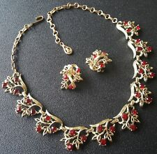 "Signed CORO Vtg 16"" Necklace & Clip Earrings SET Flower Leaf Red Rhinestone A57"