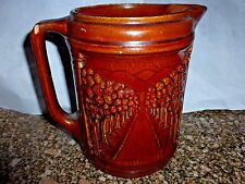 VTG BRUSH MCCOY AVENUE OF TREES EMBOSSED BROWN POTTERY WATER PITCHER AS IS