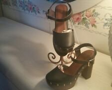 Mossimo Suppy Shoes New Black Studded Trim Wooden Heel Out Strap Across Sz 8.0M