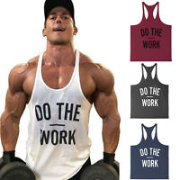 Men's Do The Work Gym Cotton Bodybuilding Tank Tops Muscle Fit Stringer