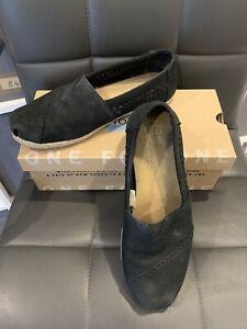 Ladies Toms Classic Black Nubuck Woven Flats Shoes Size UK 6