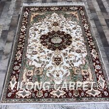 YILONG 4'x6' Handmade Silk Persian Carpet Floral Traditional Area Rug K06C