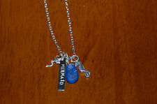 """18"""" Sterling Silver Seahorse Mermaid Word Message Necklace w Genuine Sea Glass"""