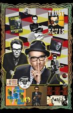 """Elvis Costello-11x17""""Collage poster -Vivid Colors -Deep Blacks -Signed by Artist"""