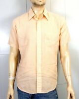 vtg 60s Campus rockabilly Bright Red White Striped SS Button Down Dress Shirt L