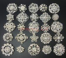 Lot 25 Silver Clear Rhinestone Crystal Brooches Pins DIY Wedding Bridal Bouquet