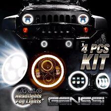 "Jeep Wrangler JK 7"" Halo LED Headlight + 4"" Halo LED DRL Fog Light Combo Kit"