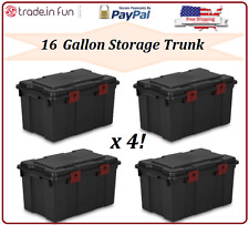 large plastic storage containers organizer box Garage Trunk 16 Gallon SET OF 4
