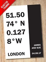 Personalised Place Coordinates & Date A4 Print - Art - Wedding Engagement Gift