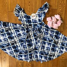 NWT Dot Dot Smile Twirly Summer dress Girls Empire Blue white  Tie Dye