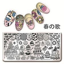 Nail Art Rectangle Stamp Image Plate Cake Dessert Pattern Harunouta L021