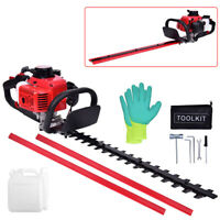 "24"" 23.6cc Gas Hedge Trimmer 2Cycle Recoil Gasoline DoubleSided Blade Trim Blade"