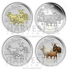 2015 AUSTRALIAN LUNAR YEAR OF THE GOAT - SILVER 4-COIN TYPE SET - SILVER GOAT