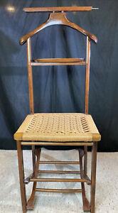 Vintage Italian Mid-Century Modern Valet Butler Gentleman's Foldable Chair Wood