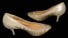 "NATURALIZER N5 COMFORT GOLDEN LEATHER AND FABRIC 3"" HIGH HEELS SIZE US 7M EUR 37"