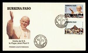 DR WHO 1990 BURKINA FASO FDC POPE JOHN PAUL II VISIT CACHET COMBO  g21918