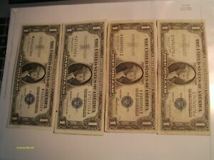 (4)1935F+35E+1957 set of $1.00 SILVER CERTIFICATES ,great for your collection
