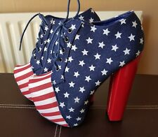 ladies shoes American flag high heeled foot block size 5 imm cond