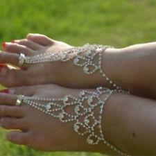 Women Rhinestone Barefoot Sandal Beach Anklet Foot Chain Toe Ring Bracelet S