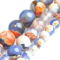 100% Natural Stone Orange Blue Fire Agates Round Loose Spacer Beads 6mm~10mm