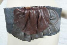 HANDMADE dark brown black tri-tone 100% leather vintage wide kidney belt EUC