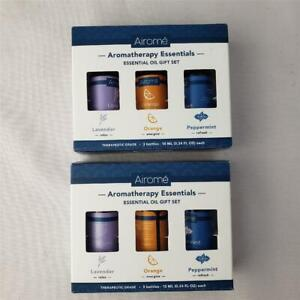= Lot of 2 Airome Aromatherapy Essentials Oil Set Lavender Orange Peppermint NEW