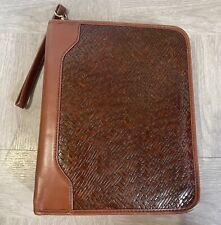Vintage Franklin Covey Brown 7 Ring Binder 11 X 8 Zip Weave Pattern Korea