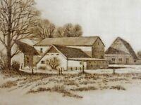 G. Richter (XX) - Radierung 1981: HOLSTEINER MARSCHHOF / TOP-Zustand