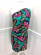 DEREK LAM Beautiful Silk One Shoulder Dress Floral Print size US 4     EXCELLENT
