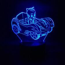 LAMPE CHEVET USB 3D VEILLEUSE ENFANT PYJAMASQUES PJMASKS 7 COULEURS JEU JOUET
