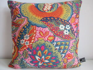 Liberty Arts Patricia Cotton Pink Floral &Turquoise Velvet Fabric Cushion Cover