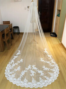 1T 3 M Bridal Wedding Veils Cathedral Lace Tulle with Comb White Ivory Appliques