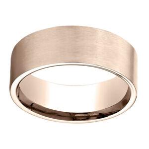 14K Rose Gold 8.00 MM Comfort-Fit Men's Wedding & Anniversary Band Ring Sz-12