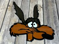 """VINTAGE LOONEY TUNES WILE E. COYOTE ROAD RUNNER 13"""" METAL GASOLINE OIL CAR SIGN"""
