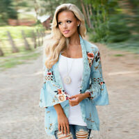 Fashion Women Long Sleeve Outwear Floral Cardigan Loose Jacket Coat Lace Tops
