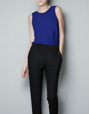 Zara Blue Combined Blouse with Tear Opening at the Back