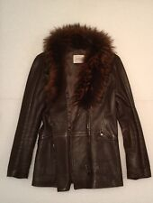Joop Women Genuine Leather Jacket With Fur Collar,Brown,Size IT 42/USA 6