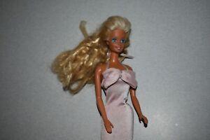1966 Barbie straight twist waist MATTEL Malaysia w/70's head tight pink dress.