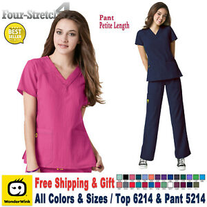 WonderWink Scrubs Set FOUR STRETCH Women's V-neck Top & Pant 6214/5214 Petite