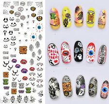 Halloween Nail Art Water Decals Transfers Ghosts Spiders Bats Gel Polish 243
