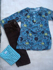 PANTALON +TUNIQUE KIMBALOO VELOURS MARRON/TURQUOISE 2 ANS + TEE SHIRT KIMBALOO