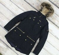 BARBOUR HATTON WOMEN'S QUILTED FUR TRIM AND HOOD NAVY PARKA JACKET COAT