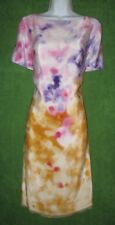 Anne Klein Yellow Pink Purple Watercolor Silk Shift Work Social Dress 14 $119