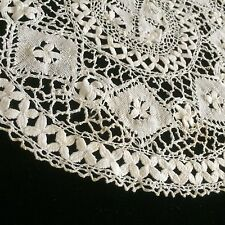 "Antique Maltese Lace Doily Round Sample Primitive Doilies Tables Collect 9"""
