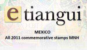 maz15 Mexico 2011 year complete, 62 commemorative  stamps SCV $ 86.00