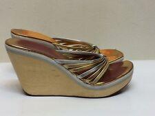 BCBG Girls Women Wedge Metallic Leather Platform Wood 9 Gold Silver Shoes
